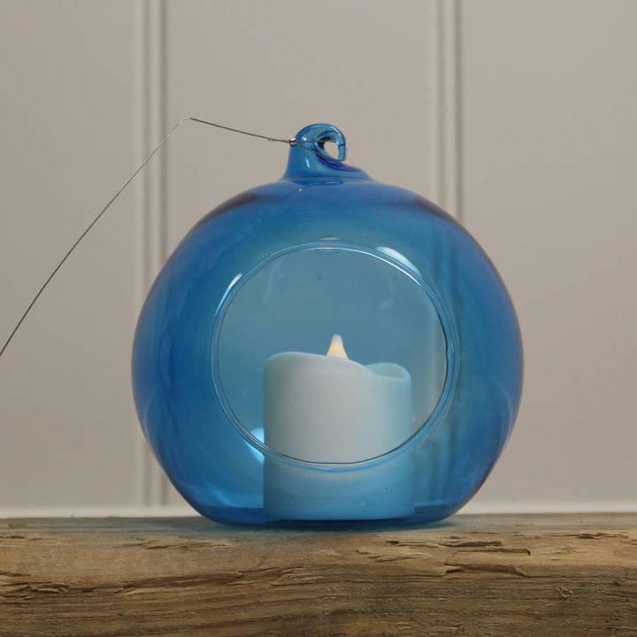 Garden Selections Glass Bauble Hanging Tealight Holder / Blue