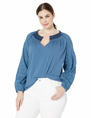 Lucky Brand Women's Plus Size Embroidered Neck Peasant TOP