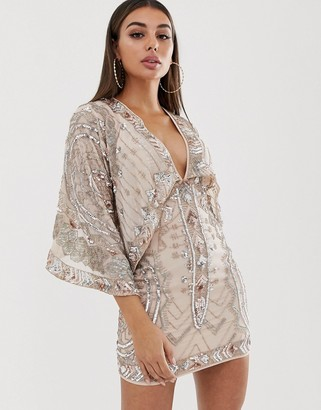 ASOS DESIGN mini dress with kimono sleeve embellished cape