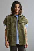Urban Outfitters Vintage Military Side Zip Cap Sleeve Button-Down Shirt