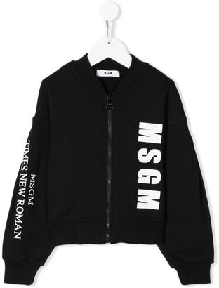 Msgm Kids Logo Print Zipped Sweatshirt
