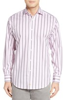 Thomas Dean Men's Classic Fit Stripe Check Sport Shirt