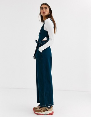 Noisy May contrast sticted tie front denim jumpsuit