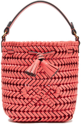 Anya Hindmarch Tasseled Braided Leather Bucket Bag