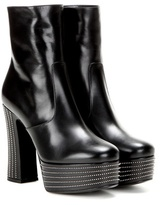 Saint Laurent Leather Platform Ankle Boots