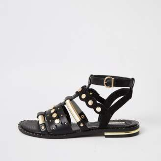 River Island Black embellished gladiator sandals