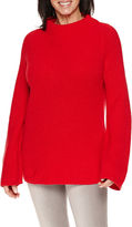 Sag Harbor Long Sleeve Mockneck Shaker Stitch Sweater