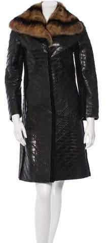 J. Mendel Sable-Trimmed Alligator Coat