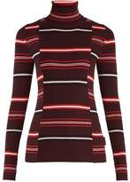 Moncler Roll-neck striped ribbed-knit wool sweater