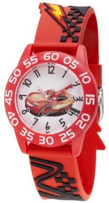 Disney Cars Lightning McQueen Boys' Red Plastic Time Teacher Watch, Red 3D Strap