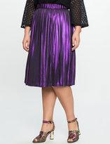 ELOQUII Plus Size Studio Pleated Metallic Skirt