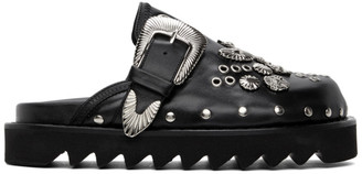 Toga Pulla Black Leather Buckle Loafers