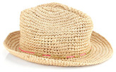 Accessorize Fine Straw Crochet Trilby With Neon Trim