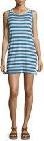 Current/Elliott The Muscle Tee Striped Tank Dress, Blue Wayfarer