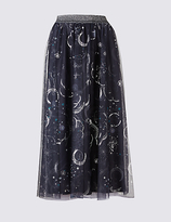 Limited Edition Printed A-Line Midi Skirt