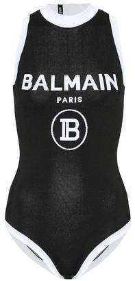Balmain Logo intarsia jersey bodysuit