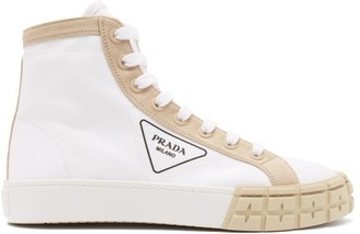 Prada Tyre-embossed Logo-print Canvas High-top Trainers - White Multi