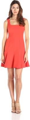 Ivy & Blu Women's Sleeveless Square Neck Dress with Flounce Hem