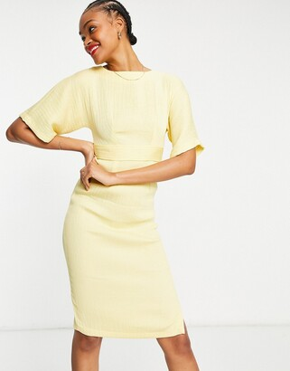 Closet London ribbed pencil work midi dress with tie back in lemon