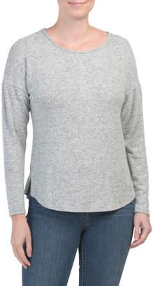 Button Back Drop Shoulder Cozy Tunic