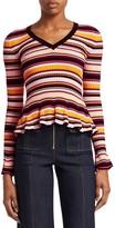 Cinq à Sept Zana Striped Peplum Sweater