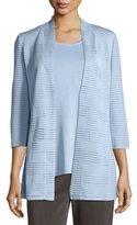 Misook Textured 3/4-Sleeve Hook-Front Knit Jacket, Plus Size