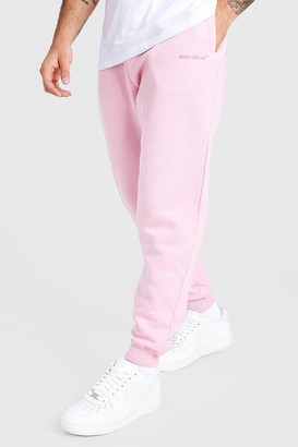 boohoo Mens Pink MAN Official Loose Fit Marl Jogger, Pink