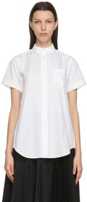 Sacai White Poplin Wide Short Sleeve Shirt