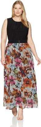 Gabby Skye Women's Plus Size Sleeveless 2fer Maxi