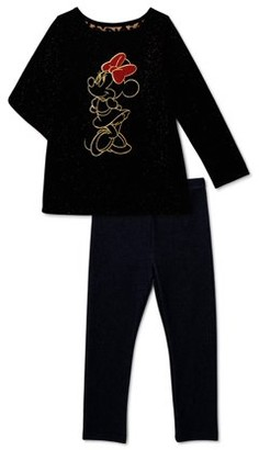 Disney Minnie Mouse Baby Toddler Girl Long Sleeve Foil Print Top & Leggings, 2pc outfit set