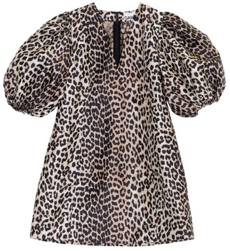 Ganni Leopard Jacquard Mini Dress
