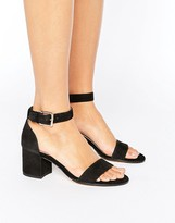 Dune Jaygo Two Part Block Heel Metallic Sandals