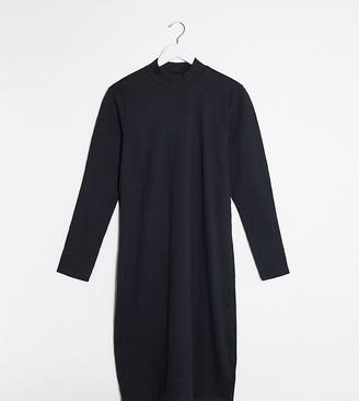 Vero Moda Curve roll neck sweater dress in black