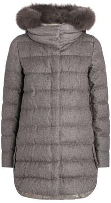 Herno Fox Fur-Trim Lurex Puffer Jacket
