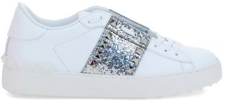 Valentino Rockstud Untitled Sneaker In Calfskin Leather With Glitter Stripe
