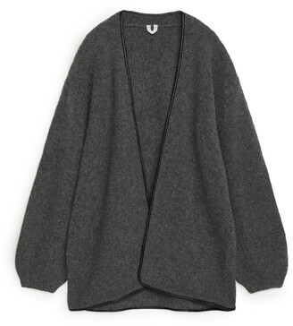 Arket Leather Trimmed Wool Cardigan