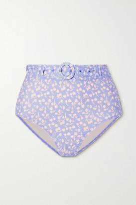 Peony Swimwear Net Sustain Belted Floral-print Bikini Briefs - Sky blue