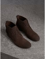Burberry Brogue Detail Suede Desert Boots , Size: 41.5, Brown