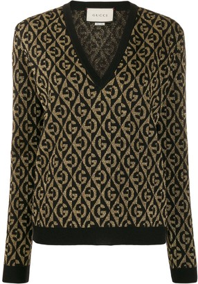 Gucci G monogram patterned metallic detail jumper