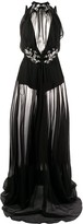 Philipp Plein silk embellished sheer maxi dress