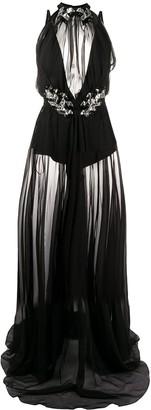 Philipp Plein Silk Embellished Sheer Maxi Dress