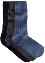 Cole Haan Solid Ribbed Crew Socks - Pack of 3