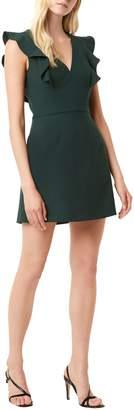 French Connection V-Neck Ruffle Mini Dress