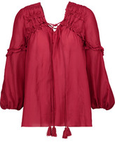 Derek Lam 10 Crosby Lace-Up Ruffle-Trimmed Cotton And Silk-Blend Broadcloth Blouse
