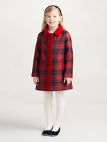 Oscar de la Renta Holiday Plaid Wool Button Down Coat