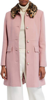 Kate Spade Wool-Blend Coat With Leopard Faux-Fur Collar
