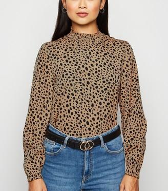 New Look Petite Leopard Print High Neck Top