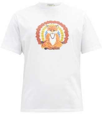 MAISON KITSUNÉ Meditating Fox-print Cotton T-shirt - White