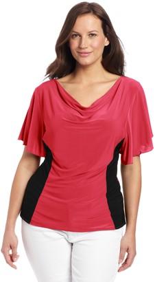 Star Vixen Women's Plus-Size Flutter Sleeve Colorblock Top