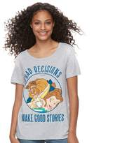 """Disney Disney's Beauty and the Beast Juniors' """"Bad Decisions Make Good Stories"""" Graphic Tee"""